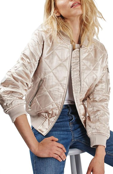 Topshop Quilted Bomber Jacket