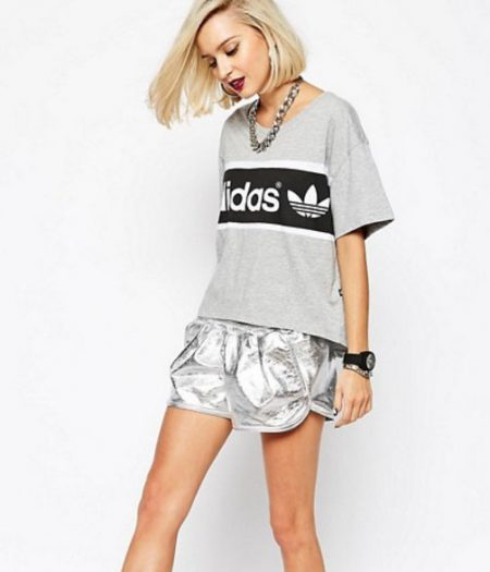 Adidas T-Shirt and Metallic Shorts