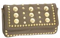 Be & D Studded Flap Baguette Clutch