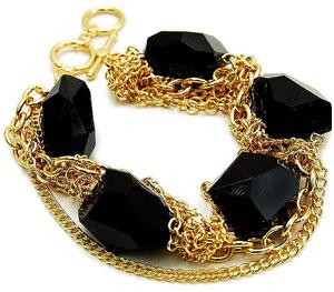 Jaseena's Chunky Black Stone & Gold Multi Chain Bracelet