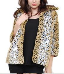 Pencey High Collar Leopard Print Coat