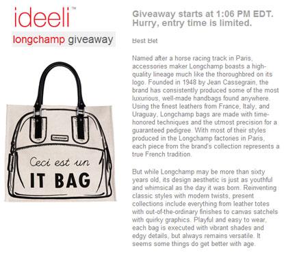 Longchamp Giveaway at Ideeli