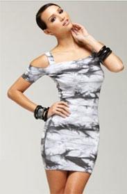 bebe-Kardashian Tie Dyed Bandage Dress