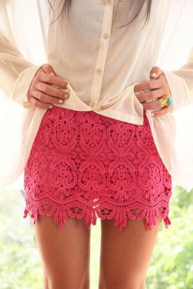 Pink Lace Mini Skirt