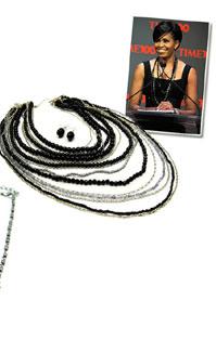 Valerie's Multi Strand Long Layered Black Bead Necklace Set
