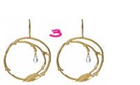 Catherine Weitzman Leaf Hoop Earrings