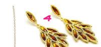 Brown Crystal Leaf Cluster Earrings