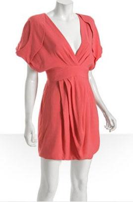 Leanne Marshall Coral Pleated Victrine Bubble Hem Dress
