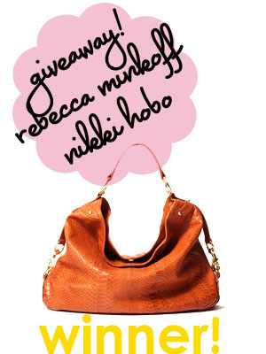 GIVEAWAY! Rebecca Minkoff Nikki Hobo Handbag