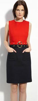 Milly Deni Trevi Belted Tropical Wool Blend Dress