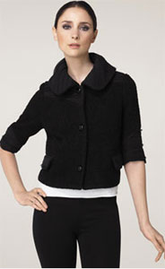 Alice + Olivia Chiffon Trim Crop Bouclé Jacket