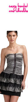 Nicole Miller Strapless Tiered Cocktail Dress