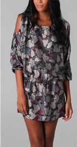 Beyond Vintage Cutout Shoulder Long Sleeve Dress
