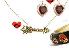 Alexis Bittar Gold Crystal Encrusted Arrow Necklace