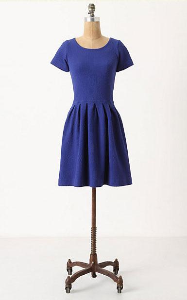 Embossed Basket Dress - Blue