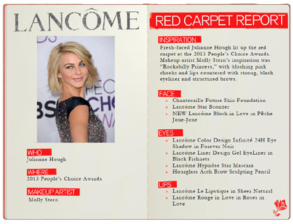 Julianne Hough at the 2013 People's Choice Awards in Lancôme