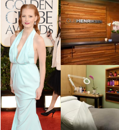 Jessica Chastain and Olehenriksen Face/Body Spa