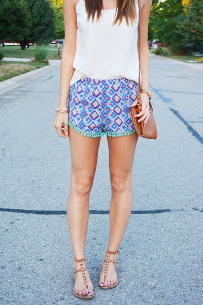 "A simple summer look featuring patterned pom shorts. Outfit styled by blogger <a href=""http://www.lovelenore.com/2014/08/pom-pom-shorts.html"">Love, Lenore</a>."
