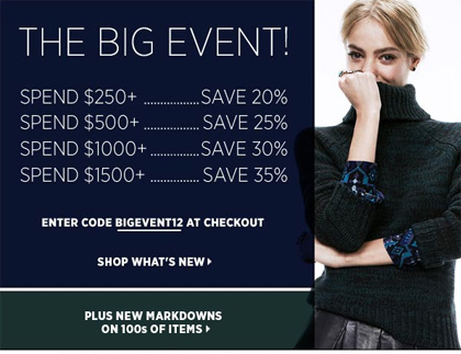 Shopbop Big Event Black Fridy and Cyber Monday Sale